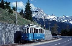 BVB 08  La Clairiere  10.05.92 (w. + h. brutzer) Tags: laclairiere schmalspurbahn schmalspurbahnen bvb triebwagen triebzug triebzüge eisenbahn eisenbahnen train trains schweiz switzerland railway zug webru analog nikon