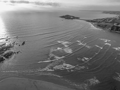 Sunset & surf [ Explore ] (NikNak Allen) Tags: devon bantham bigbury burghisland burgh island beach sand rocks reflection sea water ocean coast bay lines sets surf froth carpark hotel sky cloud clouds view look horizon drone aerial dji phantom djiphantom 4k djiphantom4 landscape seascape black white grey blackandwhite blackwhite above high evening cliffs village