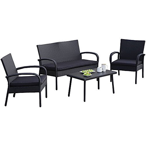 Carlota Furniture Patio Furniture Set, ideal for Outdoor, 4-Piece Modern Look Made of Black Wicker Rattan with Black Detachable Cushions Seats by Carlota Furniture
