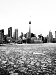 Toronto Harbour Ice Flow (MassiveKontent) Tags: toronto harbourfront noiretblanc blackwhite bw city monochrome urban blackandwhite streetphoto ontario streetphotography bwphotography streetshot winter frozen ice