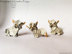 Newspaper 3 Gremlins Puppy - Barth Dunkan (Magic Fingaz) Tags: anjing barthdunkan chien chó dog gremlins hond hund köpek monster origami perro pies пас пес собака หมา 개 犬 狗