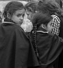 """But his wife looked back from behind him, and she became a pillar of salt."" (Genesis, 19:26) (ybiberman) Tags: israel jerusalem meahshearim passover girls braids cape portrait curiosity worry candid streetphotography bw"