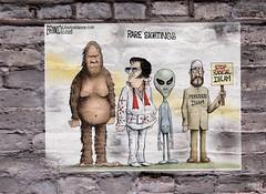 Rare sightings (Sklokapus) Tags: raresightings elvis bigfoot greenman cartoon celebrity graphicart drawing digitalart brickwall bricks politics publicdomain poster sticker streetwall funny satire