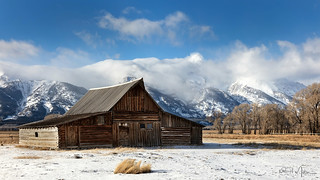 Moulton Barn and Tetons in Cloud