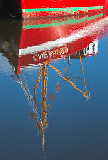 red boat reflected, Old Harbour / Vieux Bassin waters, Honfleur, Calvados, Normandy, France