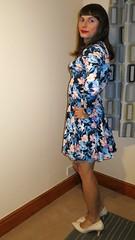New heels (bryony_savage) Tags: cd tg tv crossdress crossdresser crossdressing flowery dress long sleeves beige heels shaved legs smooth wig makeup