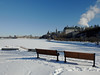 Benches at Richmond Landing with a view of Parliament Hill and the Supreme Court of Canada in Ottawa, Ontario (Ullysses) Tags: richmondlanding ottawa ontario canada autumn automne snow neige ottawariver rivièredesoutaouais bench banc parliamenthill supremecourtofcanada