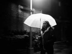 light rain (dr.milker) Tags: taiwan taipei chongqingsouthroad rain winter night umbrella streetlight street girl urban 台灣 台北 黑白 街拍 都市 下雨 巷弄 雨傘 女孩 路燈 冬天 夜晚 重慶南路 blancoynegro noiretblanc alley