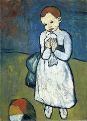 Pablo Picasso — Child with Dove, 1901. Painting: oil on canvas, 73 x 54 cm. National Gallery, London. Chlidren PortraitsBirdsPost-Impressionism (ArtAppreciated) Tags: fineart painting blogs tumblr artblogs artappreciated artoftheday artofdarkness artofdarknessco artofdarknessblog pablo picasso child with dove national gallery london postimpressionism post impressionism date1901 1900s turn 20th century portraiture figurative little girl portrait early modern modernism blue period birds