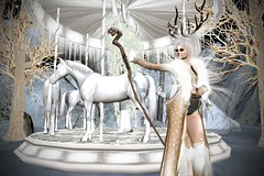 Like A Horse On A Carousel (lauragenia.viper) Tags: eternaldream irrisistible secondlife secondlifefashion swank outdoor fantasy carousel horse avatar virtual roleplay winter secondlifeblogger secondlifemodel
