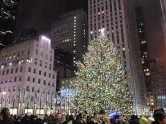 2017 Christmas Tree Rockefeller Center 5046 (Brechtbug) Tags: 2017 christmas tree rockefeller center with lights 12162017 nyc 30 rock new york city standing up above ice rink snow shoveling workers skating holiday decoration ornaments night lites light oversize load ornament midtown manhattan