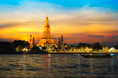 Wat Arun temple at sunset, Bangkok Thailand (Patrick Foto ;)) Tags: ancient architecture arun asia asian attraction background bangkok beautiful buddhism chaopraya city cityscape copyspace culture dawn destinations dusk east famous holiday landmark oriental phraya place prang reflection religion religious river shrine silhouette skyline southeast spirituality stupa sunrise sunset temple thai thailand tourism traditional travel twilight vacations wat water krungthepmahanakhon th