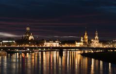Altstadtansicht (lebastian) Tags: 1442mm 1442 panasonic dmcgx8 dresden germany deutschland sky night bluehour blauestunde elbe water sonnenuntergang skyline