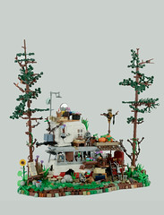 Off the Grid (Travis Brickle) Tags: lego tiny house bus moc hermit living forest painter old man beard tree caravan freedom camping open air shower many details happy new year toy