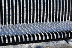 SNOWY PATTERNS ON A PARK BENCH. (vermillion$baby) Tags: milllake abbotsford bc bench line pattern repetition shadow snow snowice art design repeat winter december milllakepark fraservalley bright beautifulbc creative arty abstract