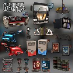 [Kres] Gearhead Garage ([krescendo]) Tags: gearheadsgarage kres krescendo mancave secondlife sl cars trucks bikes gears jerrycan fire fridge manly grr grease wrench
