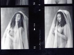 Deneen Veiled Bride Costume Lingerie Philadelphia Studio B&W Ilford HP5 Plus 35mm Contact Sheet Proof Print 1995 IMG_0021 (photographer695) Tags: deneen veiled bride costume lingerie philadelphia studio bw ilford hp5 plus 35mm contact sheet proof print 1995