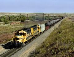 Quinlan OK Monday October 15th 1990 1135CDT (Hoopy2342) Tags: train rail railway railroad atsf santafe atchisontopekasantafe quinlan okla oklahoma prairie curtishill