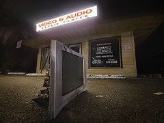Purpose Served (RZ68) Tags: night long exposure lg g6 camera phone tv set old broken sony seen better days parking lot street road left abandoned dark bright light video repair santa rosa house calls we make