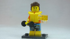 Brick Yourself Custom Lego Figure Guy with Life Vest Dumbbell & Beer