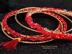 Solstice Bangles red set zoom (vashtirama) Tags: designingvashti crochetjewelry bangle crochetbracelet coveredring beaded beads