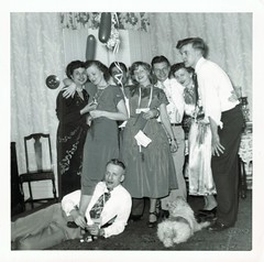 A party and a dog (sctatepdx) Tags: snapshot oldsnapshot vintagesnapshot vernacular 1950s party vintageclothes 1950sclothes 1950sparty dog vintagedog