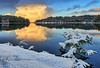 Happy New Year from Norway (Vest der ute) Tags: g7xm2 norway rogaland haugesund eivindsvatnet water waterscape landscape lake sky clouds reflections mirror snow winter outdoor serene trees tree fav25 fav200