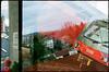 Wien / Spillern (Harald Reichmann) Tags: wien stadt ortschaft land lebensraum überlappung doppelbelichtung zug schnellbahn analog film pentaxmx baum landschaft kirche haus dach