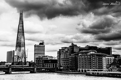 London Skyline (meepeachii) Tags: uk england unitedkingdom greatbritain london skyline blackandwhite bw monochrome city architecture buildings river clouds vacation holiday nikon photography