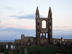 St Andrews Cathedral, 2017 Nov 28 (Dunnock_D) Tags: uk unitedkingdom britain scotland fife standrews sunset cathedral graves graveyard cemetery green grass blue sky clouds