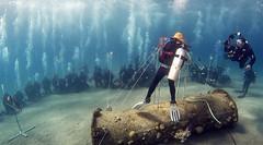 16dec08a (KnyazevDA) Tags: disability diver diving disabled handicapped underwater redsea hanukkah hanukah menorah lights candles israel eilat etgarim cmas amputee paraplegia paraplegic