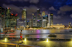 Night Runner (kieronjameslong) Tags: skyline skyscraper city water building boat sky night lights cityscape singapore waterfront jog jogger jogging run runner running nightlights landscape man asia fareast southeastasia travel holiday exercise