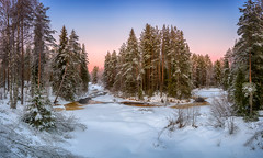 December Sunset Merry Christmas! (M.T.L Photography) Tags: decembersunset winterwonderland mikkoleinonencom mtlphotography forest trees sky snow river water colors outdoor