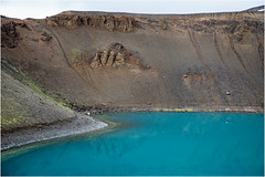 the lake (:: Blende 22 ::) Tags: volcanicactivity volcaniccrater lava caldera black stones crater hot geothermalactivity solfataras fumaroles mud pots springs steamyregion mudpools geysirfield hverasandar lowtemperaturefield siliceoussinter georhermal areas dampf steam earth color canoneos5dmarkiv ef2470f28liiusm iceland water wasser fountain road