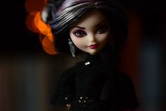 The Mistress (jessandgrace) Tags: doll portrait colorimage colors lights bokeh backgroundblur black dollclothes crochet handmade figure face eyes browneyed hair blackhaired whitehaired pink duchessswan everafterhigh eah pretty beauty glamour cute indoor