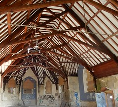 closer look at the roof timbers of the chapel (caleythistle) Tags: chapel wales denbigh asylum hospital