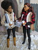 "4. ""Happy birthday!"" (Foxy Belle) Tags: barbie doll fashionistas 2017 rebody made move coat winter cell coffee diorama plaid buffalo red tan leggings boots 66 80 butterfly curvy petite"