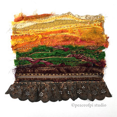 Sun and Soil (JoMo (peaceofpi)) Tags: fiberart landscape beaded beading abstract lace silk sarisilk textileart tafa stitched artquilt sewing fabric ribbon series