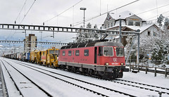 SBB Re620 Locomotive mixed freight_Arth-Goldau_181217_01 (DS 90008) Tags: sbb sbbcffffs re66 re620 wagons tamper logistics cargo arthgoldau switzerland swissrailways swissalps rollingstock station engineering outdoors winter train track containers railway railtransport railroad freight freightloco