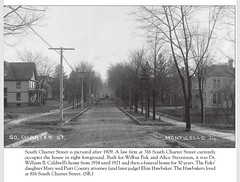 South View of Charter St from Lafayette St with Monticello High Sch at end 1929 (RLWisegarver) Tags: piatt county history monticello illinois usa il