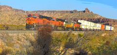 Trying something Different (Woodypug) Tags: kingman canyon mohave county arizona atsf bnsf mountains desert landscape locomotive 01012018