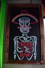Order To Go (thoth1618) Tags: ny nyc newyork newyorkcity brooklyn downtown downtownbrooklyn order to go ordertogo sign chalk chalkboard skeleton hat mustache rocos rocostacos rocostacosandtequilabar restaurant bar taco tacos tequila photooftheday