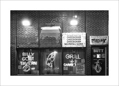 Billy Goat Tavern (DJ Wolfman) Tags: chicago blackandwhite bw street streetshots streetphotography billygoattavern sitesinchicago sony rx10 saturdaynightlive cheeseburger