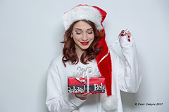 Olivia - December 2017 (Peter Camyre) Tags: studio pictures portraits peter camyre photography christmas gift present wrapping snow cold jacket warm winter fashion canon 5d mkiii speedlite red white black santa hat santahat beauty beautiful female model friend people happy girl lady glamor flickr groups