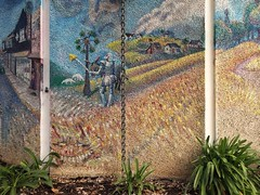 Demon in the Grass (with Don Quixote and Aardvarks) (misterbigidea) Tags: beauty urban detail landscape city street art artwork amphitheater wall community downtown abstract publicart painting mosaic mural fantasy daydream surreal