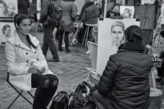 In The Eye (sdupimages) Tags: noirblanc blackwhite street paris parisienne bw nb montmartre woman femme peintre painter painting portrait