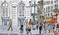 Bruxelles, Place Royale (chando*) Tags: aquarelle watercolor croquis sketch