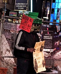 No ambiguity in declaring his panhandling priorities. (Fotofricassee) Tags: manhattan panhandler weed pot grass maryjane times square 42nd street unabashed marijuana beg begging