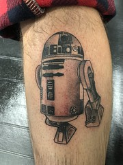 Simple R2D2 Star Wars tattoo by Wes Fortier @ Burning Hearts Tattoo Co. Waterbury, CT. Instagram: @wesdtc | Facebook: facebook.com/burningheartstattoo