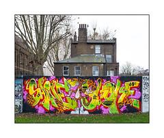 Street Art (Shine & Quest, Skore) East London, England. (Joseph O'Malley64) Tags: shinequest skore graffiti streetart urbanart publicart freeart eastlondon eastend london england uk britain british greatbritain art artists artistry artworks murals muralists wallmural wall walls walledgarden victorianwalledgarden churchproperty victorianbuildings victorianstructures brickwork bricksmortar cement pointing roofingslates slateroofs leadflashing windows sashwindows chimneys chimneypots barredwindow drainpipes mitredbricklintels flue extractorfan vents satellitedish tvaerial redundantanaloguetvaerial londonplanetrees towerblocks homes housing dwellings barbedwire steeluprights openground fallenleaves winter overcastdull urban urbanlandscape aerosol cans spray paint fujix x100t accuracyprecision trainers sneakers